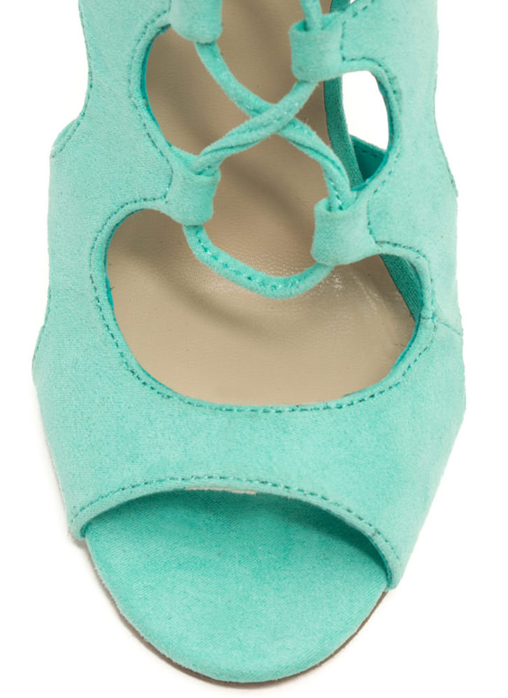 Night Is Young Lace-Up Heels SEAFOAM