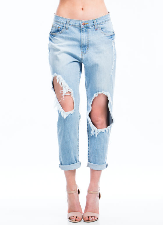 Broken In Cut-Out Boyfriend Jeans LTBLUE