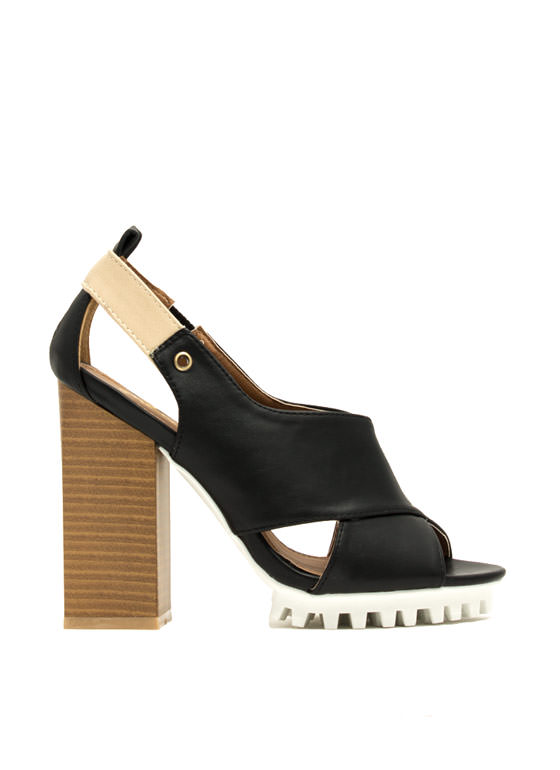 Architectural Crisscrossed Heels BLACK