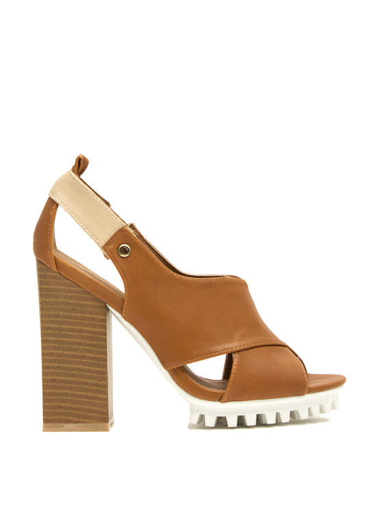 Architectural Crisscrossed Heels CAMEL