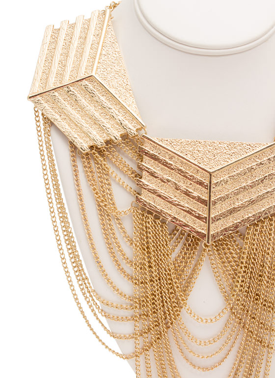 Textured Chevrons Necklace Set GOLD