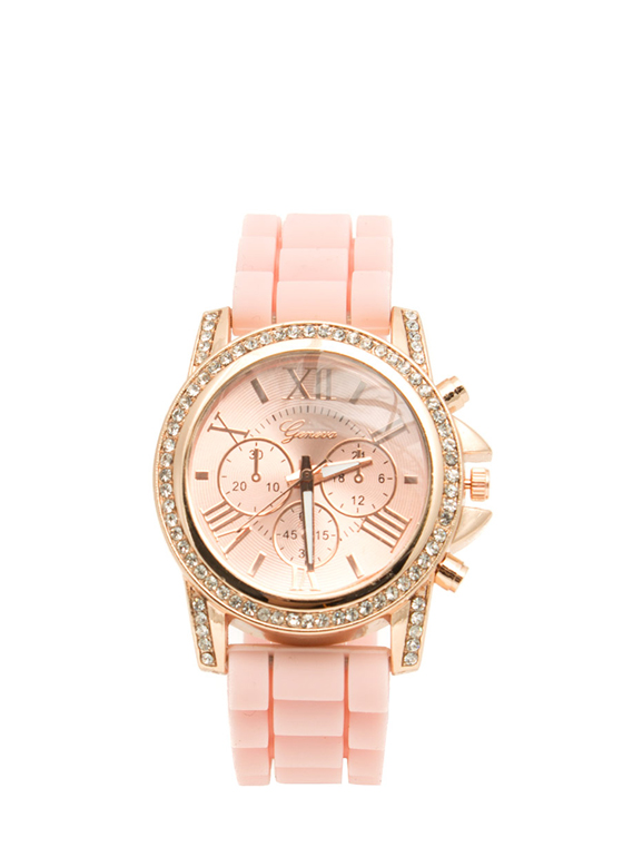 Jeweled Roman Numeral Silicone Watch PINK