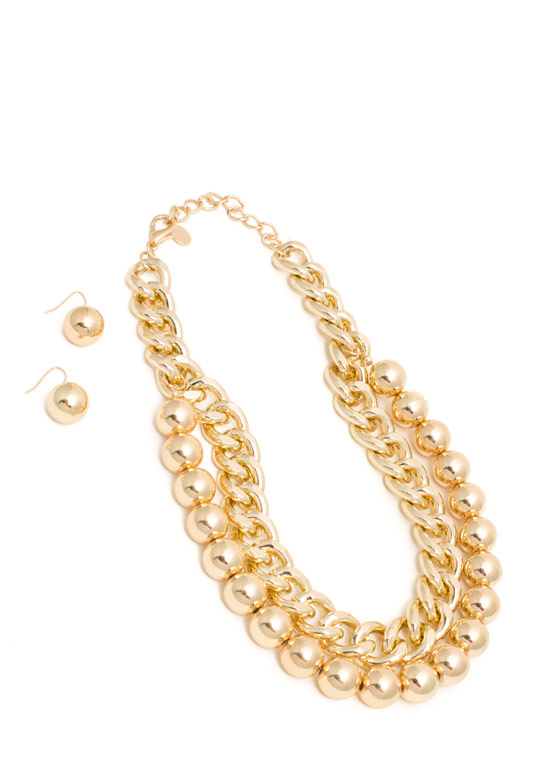 Ball N Chain Necklace Set GOLD