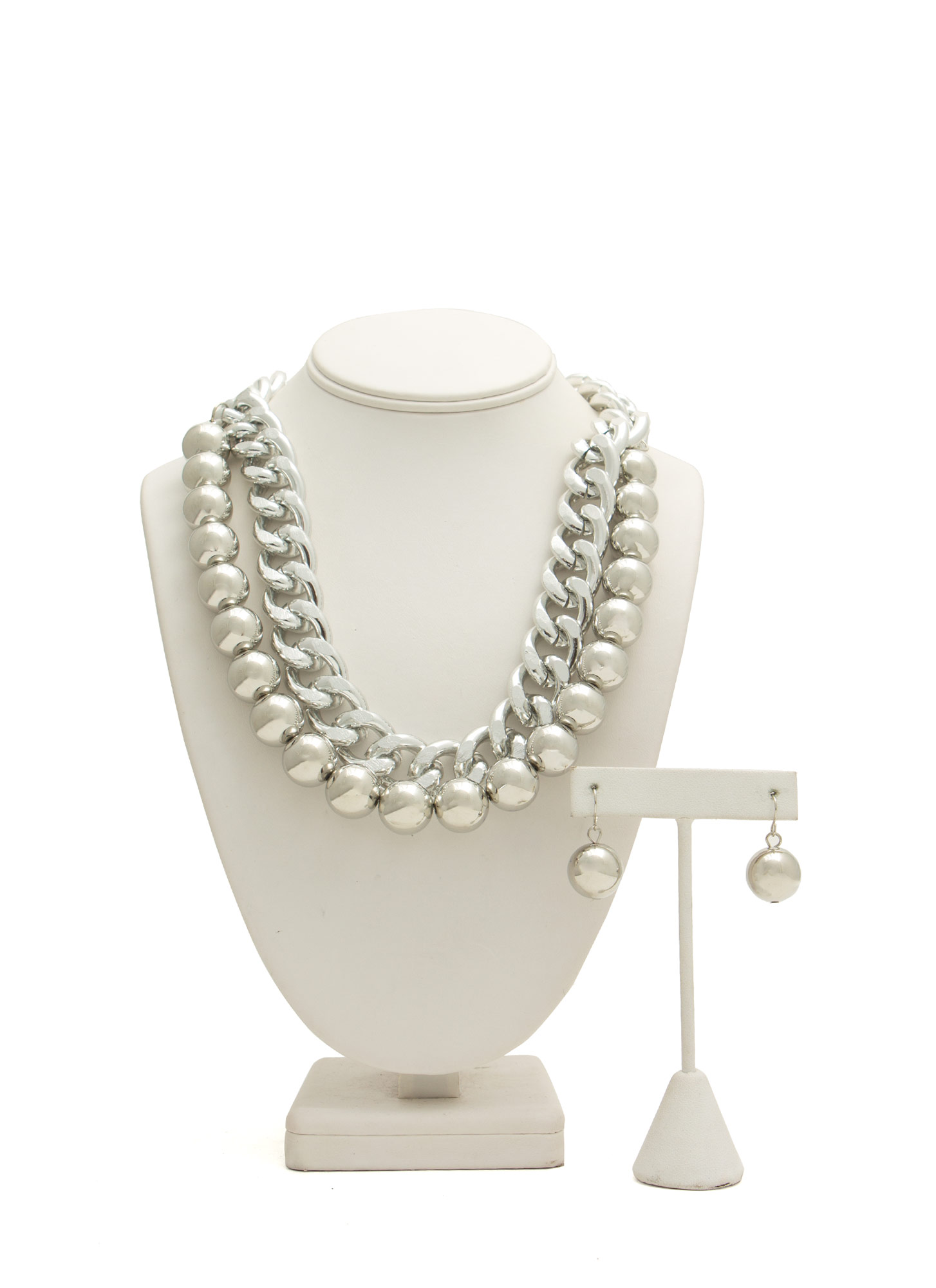 Ball N Chain Necklace Set SILVER