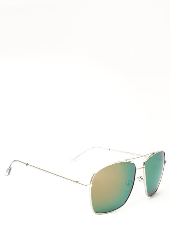 Reflective Squared Aviator Sunglasses COPPERMULTI