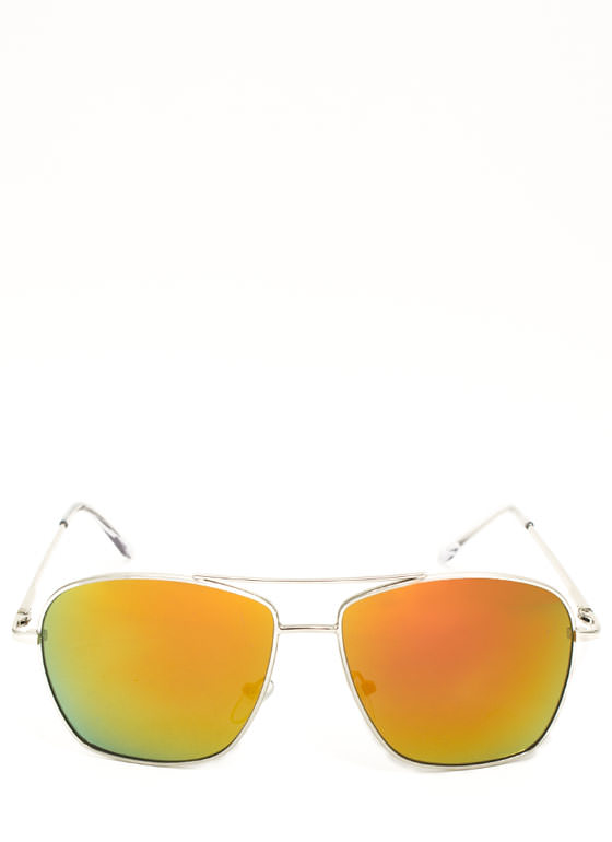 Reflective Squared Aviator Sunglasses YELLOWORG
