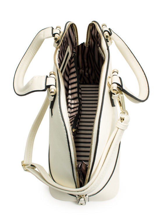 All Curves Faux Leather Satchel IVORY