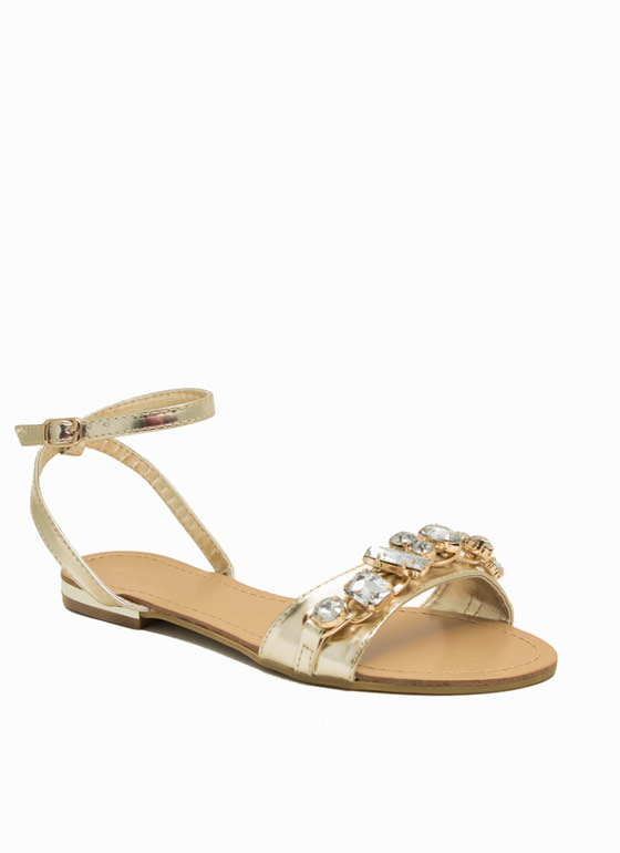 Jewel Heist Strappy Chained Sandals GOLD
