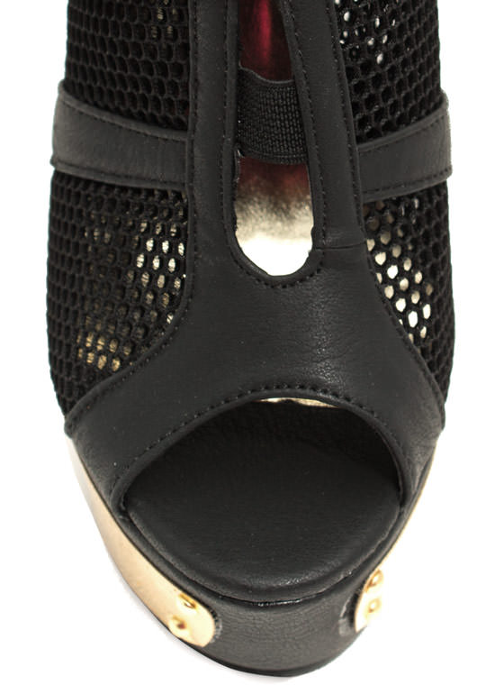 Sport Of Queens Strappy Mesh Platforms BLACK