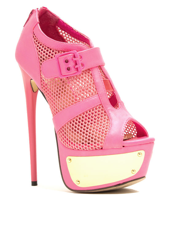 Sport Of Queens Strappy Mesh Platforms FUCHSIA (Final Sale)