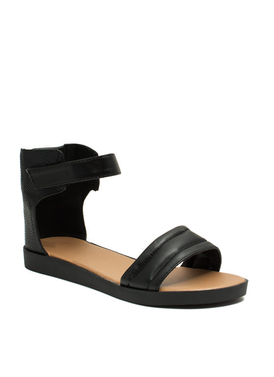 Rock 'N Quilted Faux Leather Sandals BLACK
