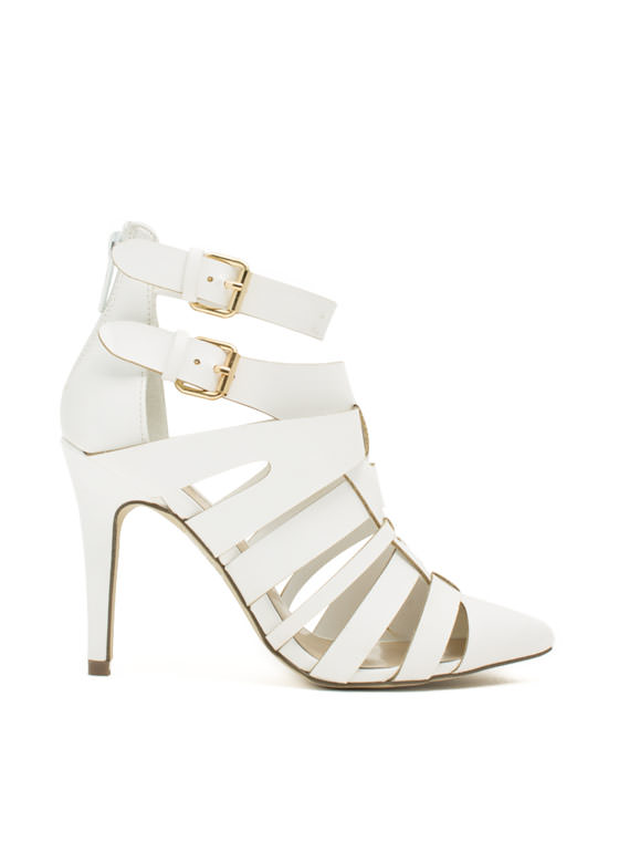 Woven Caged Single-Sole Heels WHITE