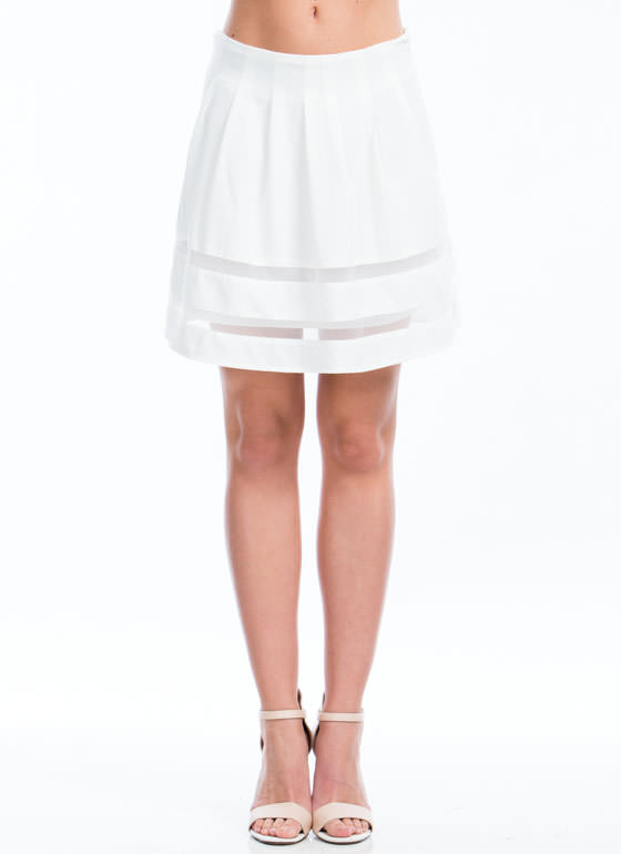 Sheer Striped Pleated Skirt OFFWHITE (Final Sale)