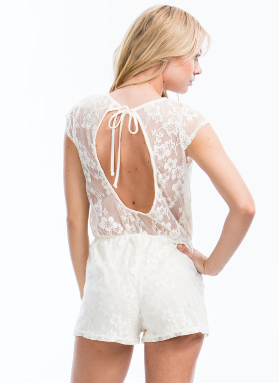 V To It Floral Lace Romper CREAM
