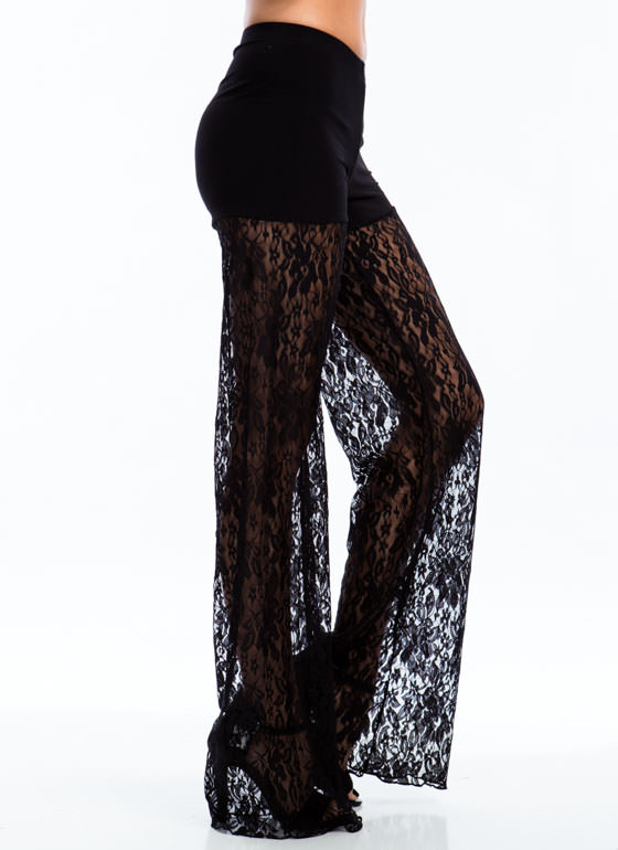 Blooming Floral Petals Lace Pants BLACK