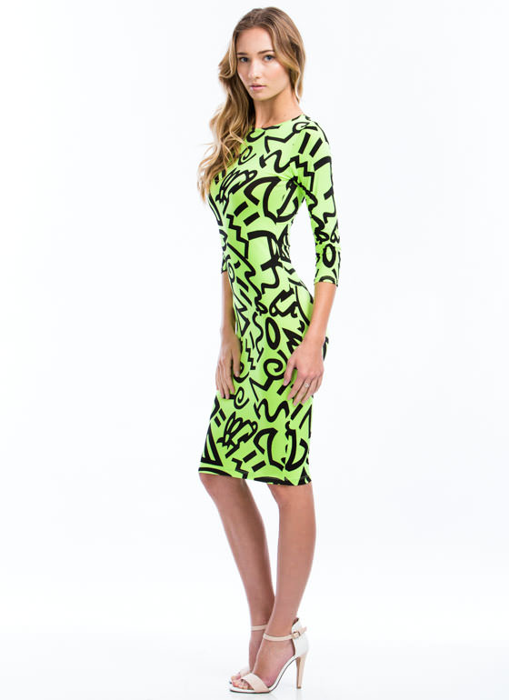 Pure And Symbol Graffiti Print Dress NEONGREEN