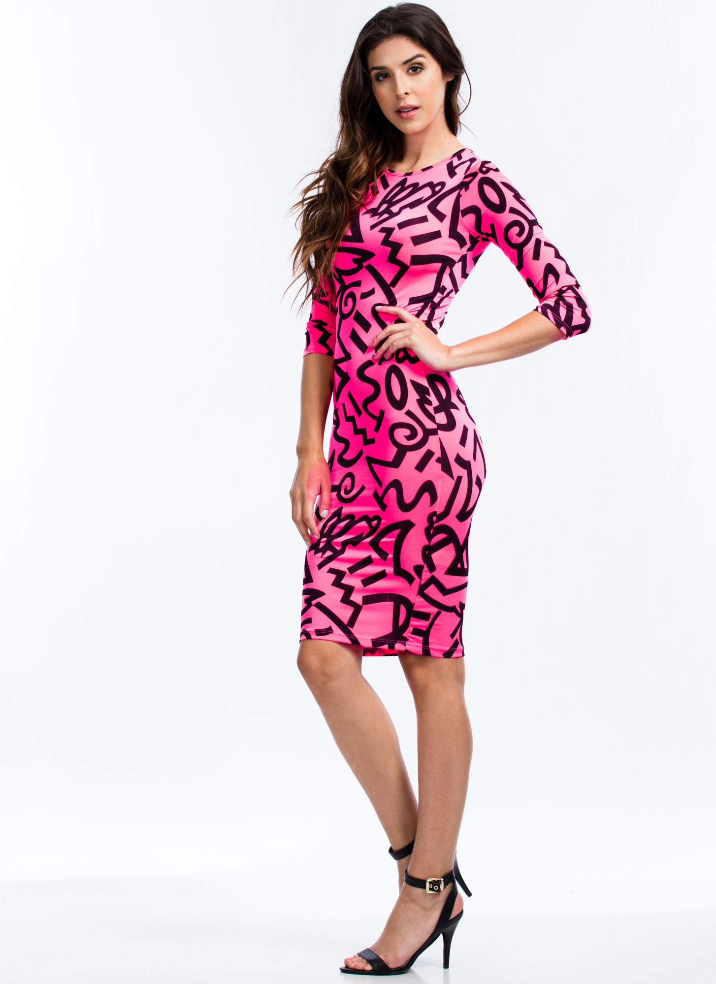 Pure And Symbol Graffiti Print Dress NEONPINK
