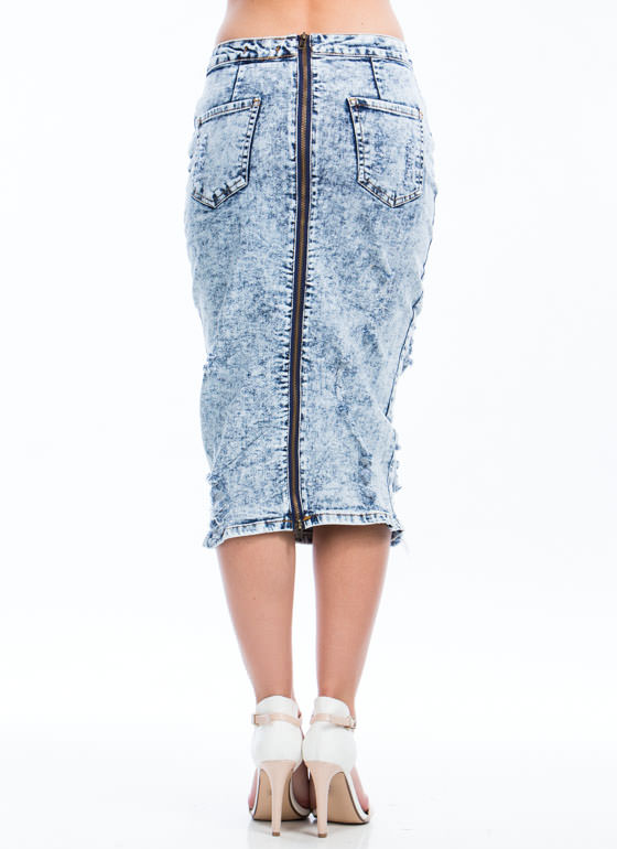 Zip You Up Acid Wash Midi Skirt LTBLUE