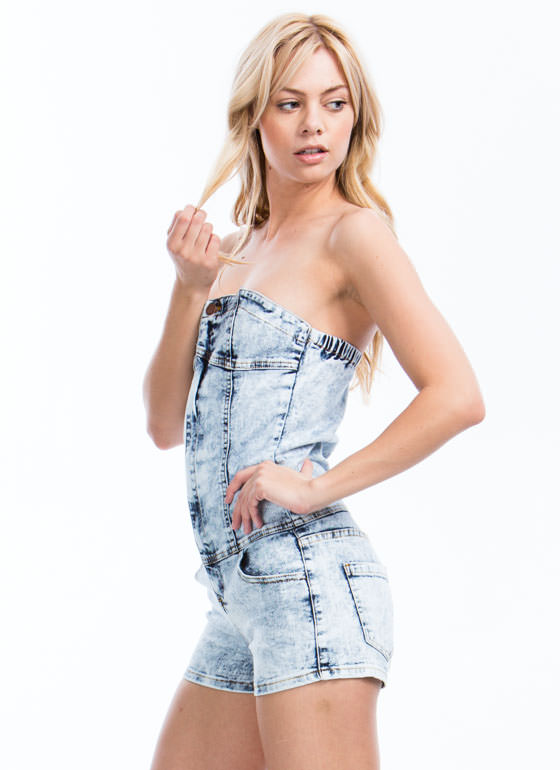 Zip You Up Acid Wash Tube Romper LTBLUE