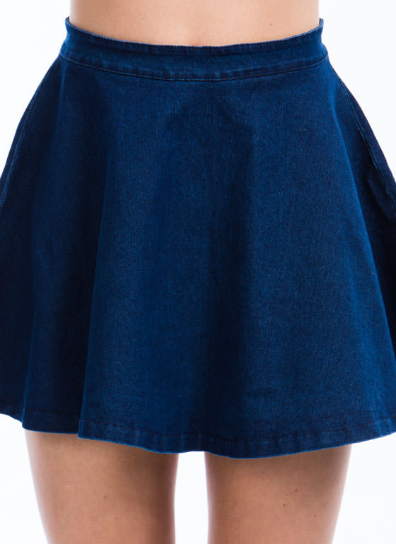 Let's Play Flare Denim Skater Skirt DKBLUE (Final Sale)