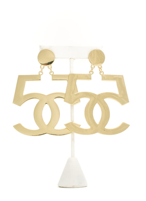 Oversized Mirrored Double 5 Earrings GOLD