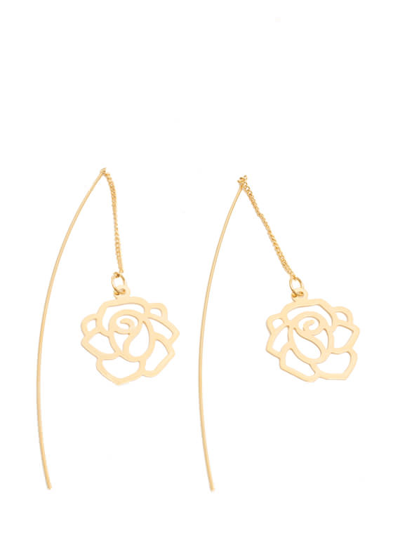 Cut-Out Rose Drape Thru Earrings GOLD