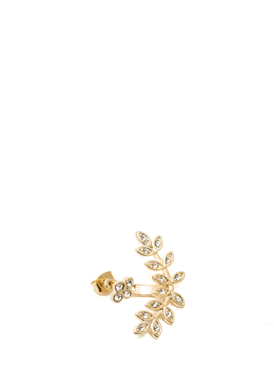 Leafy Embellished Backdrop Earring GOLDCLEAR