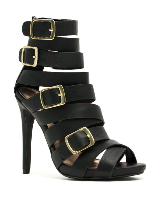 Quad Buckle Strappy Heels BLACK