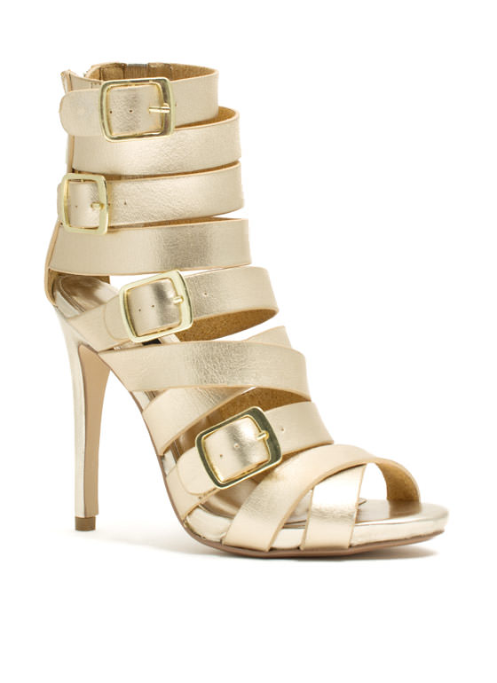 Quad Buckle Strappy Heels GOLD