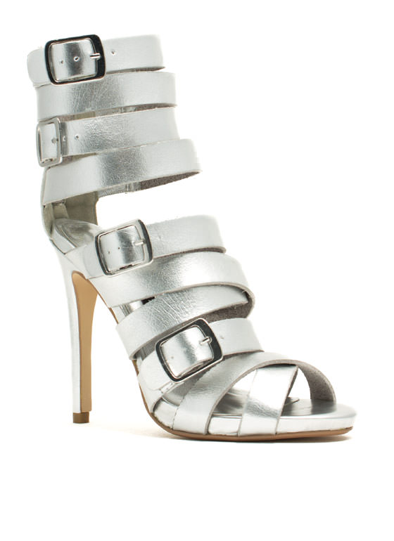 Quad Buckle Strappy Heels SILVER