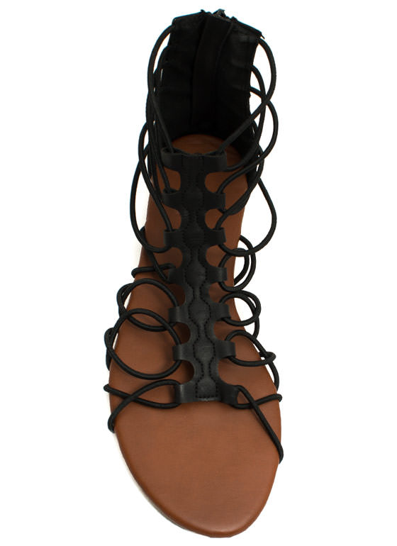 Get Loopy Gladiator Sandals BLACK