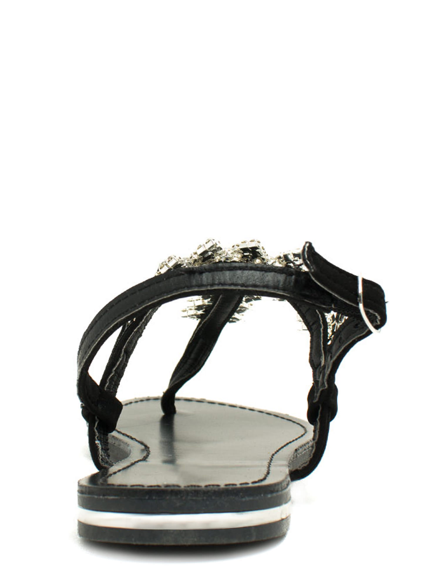 Lady Jewels T-Strap Sandals BLACK