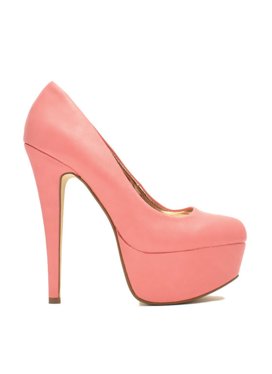 Love At First Faux Leather Stiletto Heels MELON