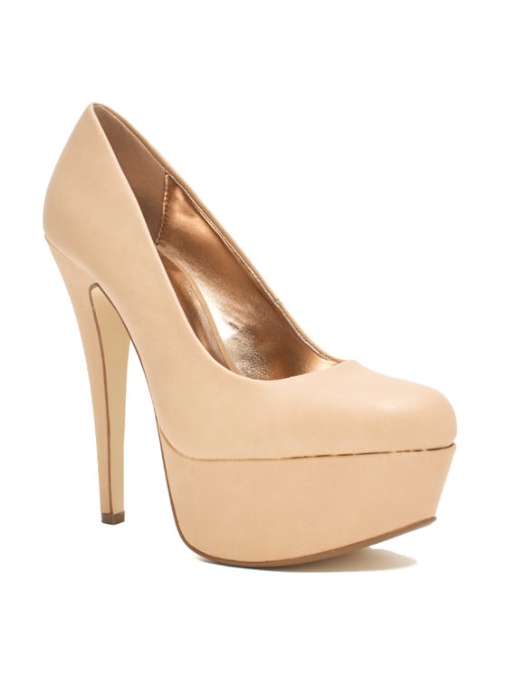 Love At First Faux Leather Stiletto Heels NUDE