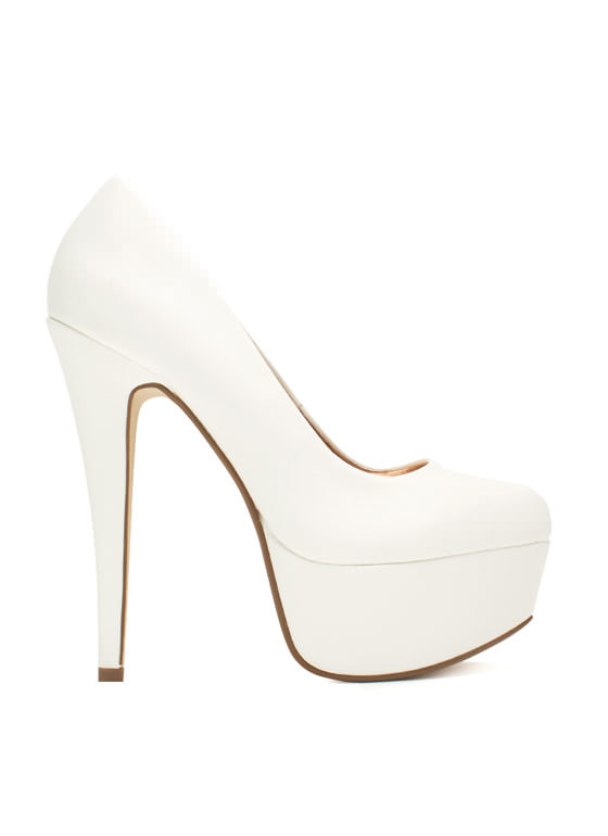 Love At First Faux Leather Stiletto Heels WHITE