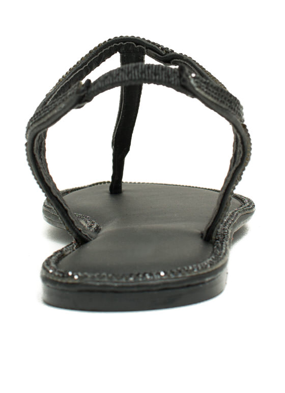 All Around Town Jeweled Sandals BLACK