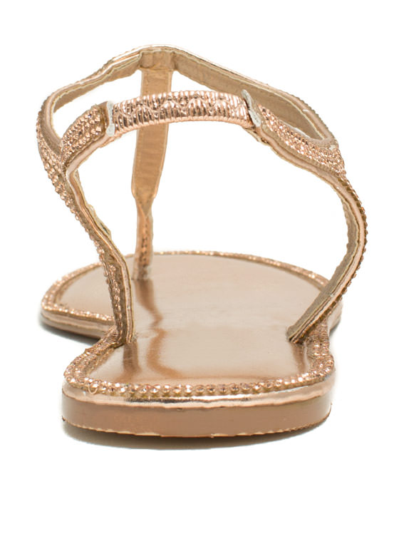 All Around Town Jeweled Sandals ROSEGOLD