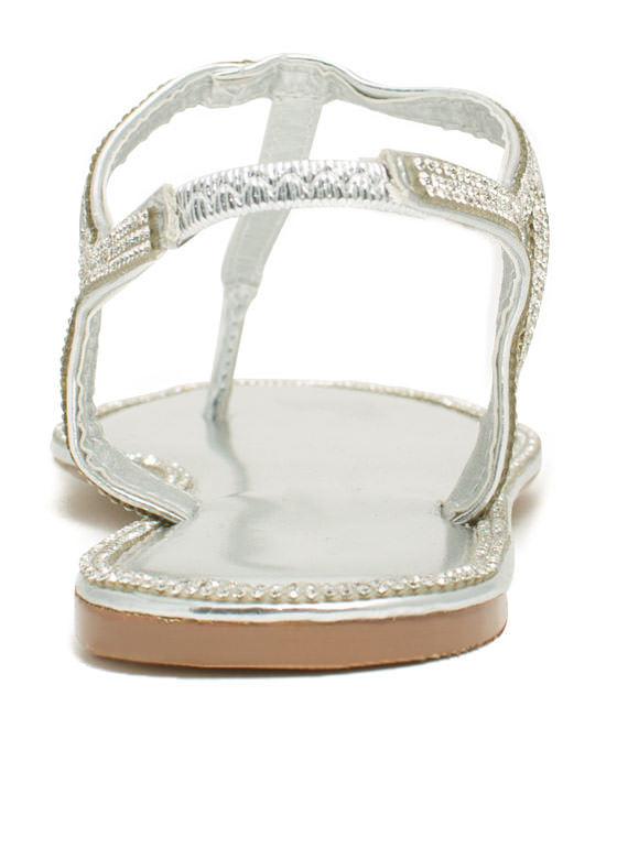 All Around Town Jeweled Sandals SILVER