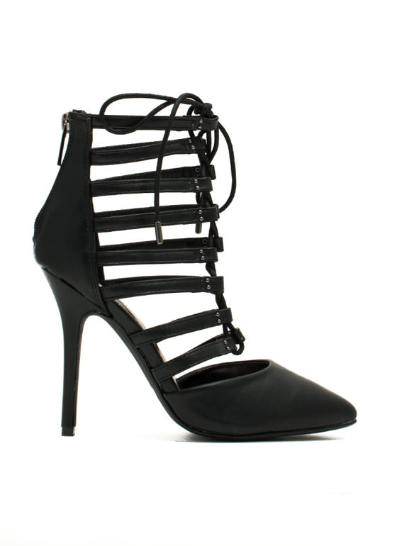 Ladder Up Strappy Pointy Laced Heels BLACK