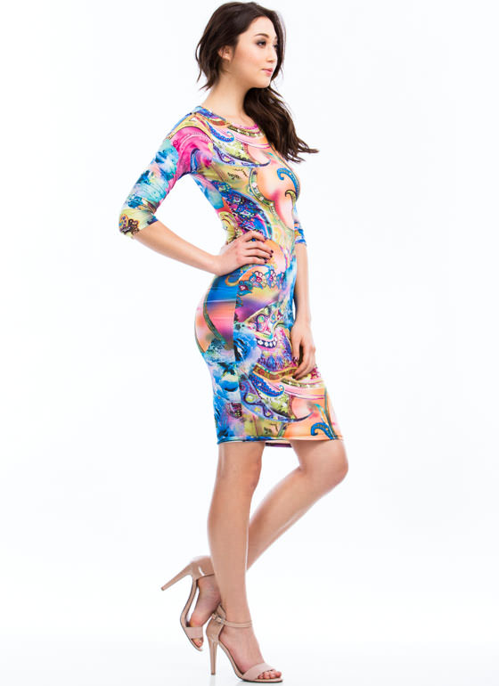 Paint A Paisley Picture Print Dress BLUE (Final Sale)