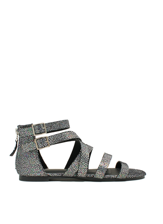 Strappy Spotted Iridescent Sandals BLACK