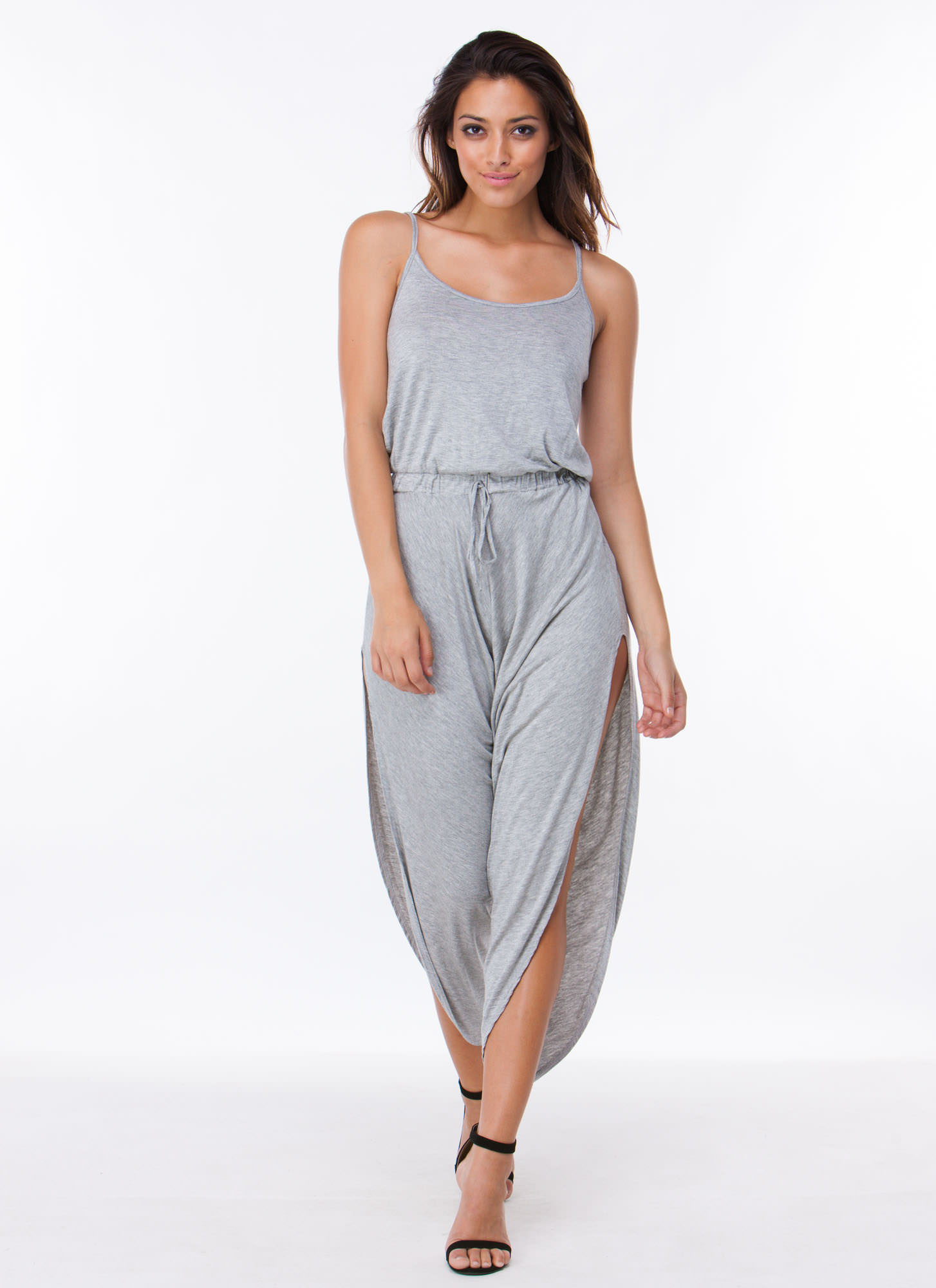 Slit Happens Strappy Split Jumpsuit GREY