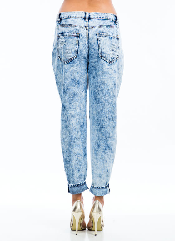 No Stress Acid Wash Boyfriend Jeans BLUE