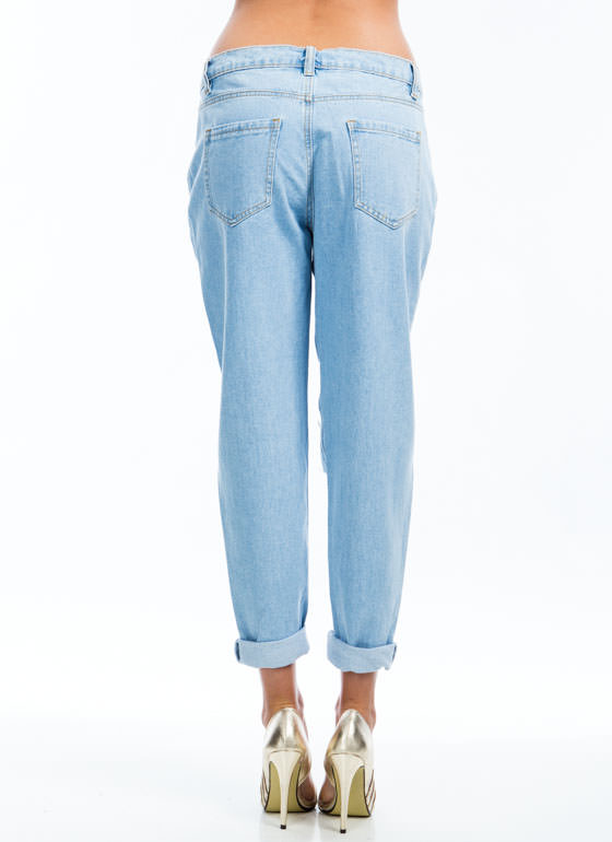 All The Way Destroyed Boyfriend Jeans LTBLUE