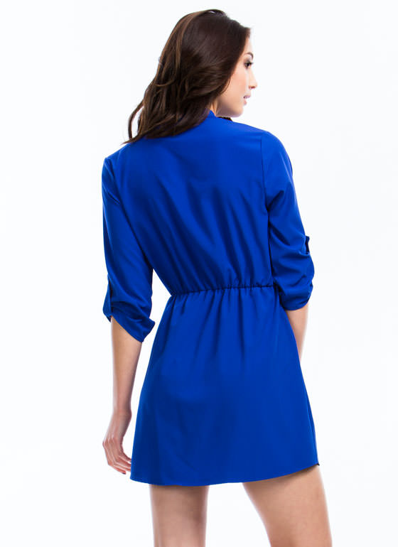 Three-Quarter Shirt Dress ROYAL