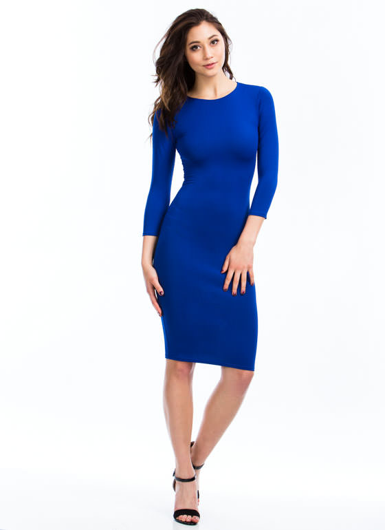Basic Three-Quarter Bodycon Dress COBALT