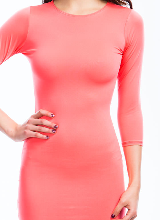 Basic Three-Quarter Bodycon Dress NEONCORAL