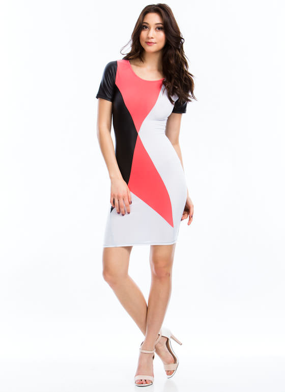 What's Your Angle Colorblock Dress PINKBLACK