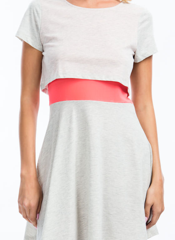 What A Combo Mesh Contrast Dress GREY (Final Sale)