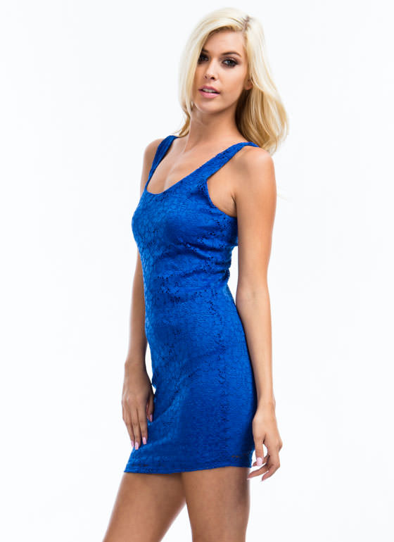 I Love Lacy Floral Overlay Dress ROYAL